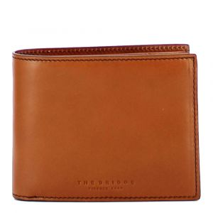 Portafoglio Uomo Porta Carte THE BRIDGE In Pelle Color Cognac linea Capalbio Made in Italy