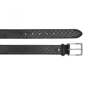 Cintura Uomo in Pelle Intrecciata Nera THE BRIDGE h 3,5cm 110cm linea Brunelleschi Made in Italy