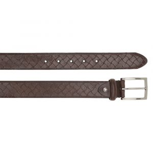 Cintura Uomo in Pelle Intrecciata Testa di Moro THE BRIDGE h 3,5cm 110cm linea Brunelleschi Made in Italy