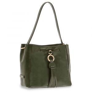Borsa Donna Hobo a Spalla Media THE BRIDGE in Pelle Verde Inglese linea Margherita