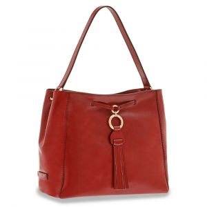 Borsa Donna Hobo a Spalla THE BRIDGE in Pelle Rossa linea Margherita