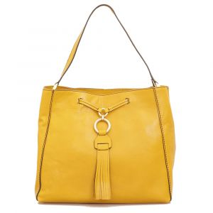 Borsa Donna Hobo a Spalla THE BRIDGE in Pelle Giallo Cedro linea Margherita