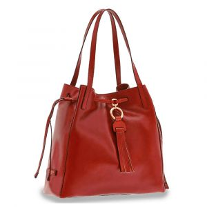 Borsa Donna Shopping Media a Spalla THE BRIDGE in Pelle Rossa linea Margherita