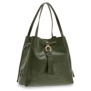 Borsa Donna Shopping a Spalla THE BRIDGE in Pelle Verde Inglese linea Margherita