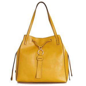 Borsa Donna Shopping a Spalla THE BRIDGE in Pelle Giallo Cedro linea Margherita