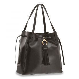 Borsa Donna Shopping Media a Spalla THE BRIDGE in Pelle Nera linea Margherita