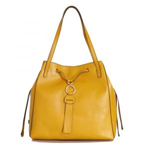 Borsa Donna Shopping Media a Spalla THE BRIDGE in Pelle Giallo Cedro linea Margherita