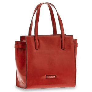 Borsa Donna Shopping a Spalla THE BRIDGE in Pelle Rossa linea Bianca