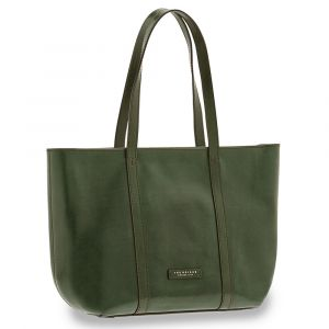 Borsa Donna Shopping Grande a Spalla THE BRIDGE in Pelle Verde Inglese linea Vittoria