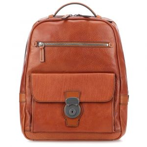 "Zaino Porta Pc 14"" e Tablet THE BRIDGE in Pelle Martellata Color Cognac linea Capalbio"