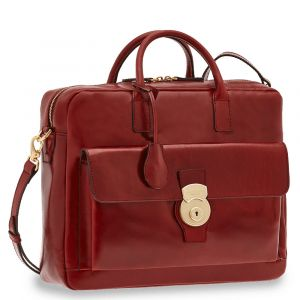 "Cartella Due Manici con Tracolla Porta Pc 14"" THE BRIDGE in Pelle Bordeaux linea Capalbio"