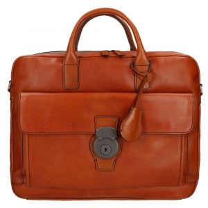 "Cartella Due Manici Porta Pc 14"" THE BRIDGE in Pelle Martellata Color Cognac linea Capalbio"