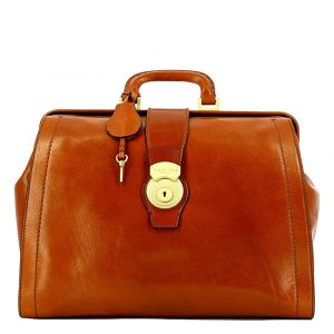 "Borsa Medico con Porta Pc 14"" THE BRIDGE in Pelle Color Cognac linea Capalbio Made in Italy"