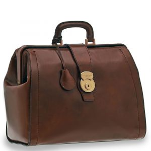 "Borsa Medico con Porta Pc 14"" THE BRIDGE in Pelle Marrone linea Capalbio Made in Italy"