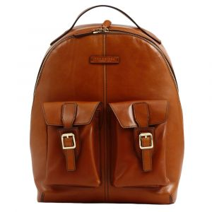 "Zaino Uomo Porta Pc 15"" THE BRIDGE in Pelle Color Cognac linea Giannutri"