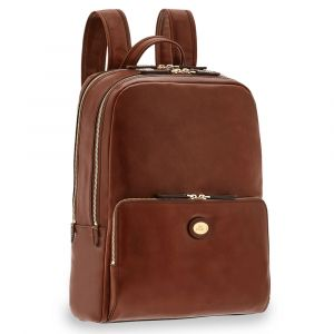 "Zaino Due Scomparti con Porta Pc 13"" THE BRIDGE in Pelle Marrone linea Story Uomo"