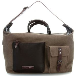 Borsone da Viaggio THE BRIDGE in Pelle Marrone e Tessuto Khaki linea Carver-D Made in Italy