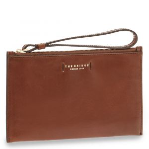 Pochette Donna a Mano THE BRIDGE in Pelle Marrone linea Bianca
