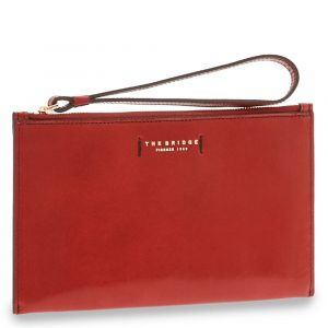 Pochette Donna a Mano THE BRIDGE in Pelle Rossa linea Bianca