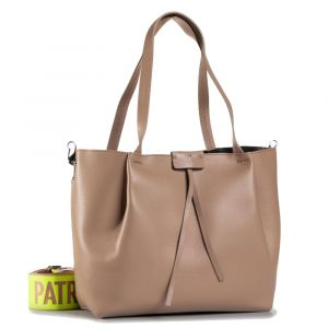 Borsa Donna in Pelle PATRIZIA PEPE Shopping a Spalla con Tracolla 2V9829 Real Taupe