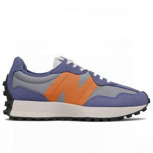 Scarpe Donna NEW BALANCE Sneakers 327 in Suede e Mesh colore Orange e Blu