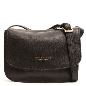Borsa a Tracolla con Pattina THE BRIDGE in Pelle Martellata Nera linea Luxe Made in Italy