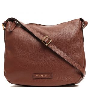 Borsa Donna a Tracolla The Bridge in Pelle Martellata Marrone linea Luxe