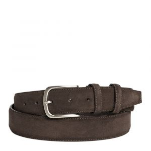 Cintura Uomo in Camoscio Marrone Scuro 3,5cm - Made in Italy
