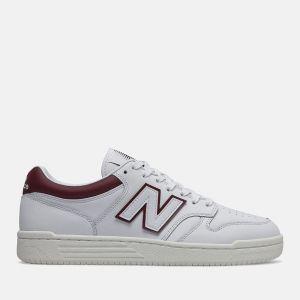 Scarpe Uomo NEW BALANCE Sneakers 480 in Pelle colore White e Burgundy