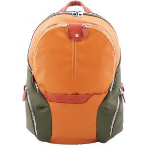 """Zaino Espandibile Piquadro in Pelle e Tessuto Arancione Porta Pc 14"""" e porta Tablet -  CA2943OS Linea Coleos"""