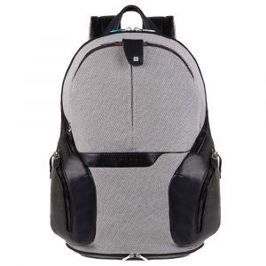 """Zaino Espandibile Piquadro in Pelle e Tessuto Nero e Bianco Porta Pc 14"""" e porta iPad®Air/Air2 -  CA2943OS34 Linea Coleos"""