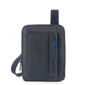 Borsello Uomo PIQUADRO a Tracolla con porta iPadmini - CA3084P16 in Tessuto Chevron - Blu