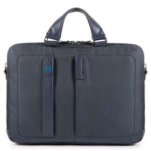 """Cartella Due Manici PIQUADRO Porta Pc 15,6"""" e iPad - CA3347P16 in Tessuto colore Chevron - Blu"""