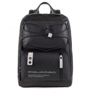 """Zaino Piquadro in Pelle Nera Porta Pc 14"""" e Tablet - CA4862DT Linea Downtown"""