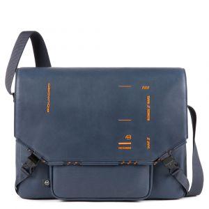 Messenger Porta Tablet - PIQUADRO CA4925S106 in Pelle Blu