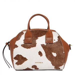 Borsa Donna a Mano COCCINELLE in Pelle Linea Concrete Journal Cow Medium colore Moka - Caramel