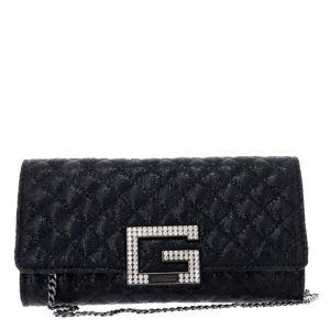 Pochette Donna con Tracolla Matelassè GUESS Modello Dazzle Colore Nero