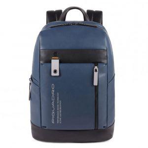 "Zaino Piquadro in Pelle Blu Porta Pc 14"" e Tablet - CA4545DT Linea Downtown"