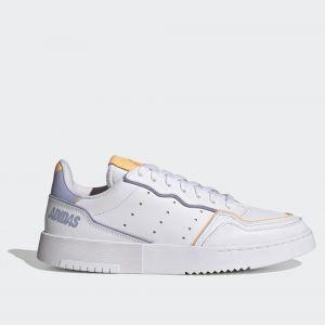 Scarpe Donna ADIDAS Sneakers linea Supercourt in Pelle Bianco Lilla e Arancione