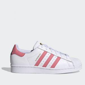 Scarpe Donna ADIDAS Sneakers linea Superstar W in Pelle Bianco e Rosa