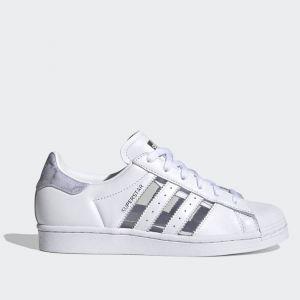 Scarpe Donna ADIDAS Sneakers linea Superstar W in Pelle Bianco e Grigio