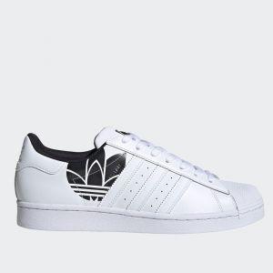Scarpe Uomo ADIDAS Sneakers linea Superstar in Pelle Bianca con Maxi Logo Nero