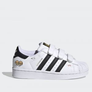 Scarpe Bambino ADIDAS Sneakers con Strappi linea Superstar CF C colore Bianco e Nero