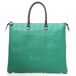 Borsa Donna a Mano con Tracolla GABS G3 Trasformabile in Pelle linea Patchwork Verde Large