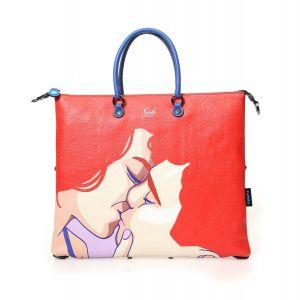 Borsa Donna a Mano GABS G3 Super Trasformabile in Pelle Rossa stampa Kiss Large