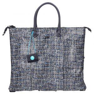 Borsa Donna a mano con tracolla GABS G3 in Pelle Tweed Blu 3 Borse in 1 misura L