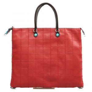 Borsa Donna a Mano con Tracolla GABS G3 Trasformabile in Pelle linea Patchwork color Rosso Scuro Large