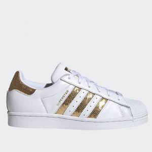 Scarpe Donna ADIDAS Sneakers linea Superstar W in Pelle Bianco e Oro con Paillettes