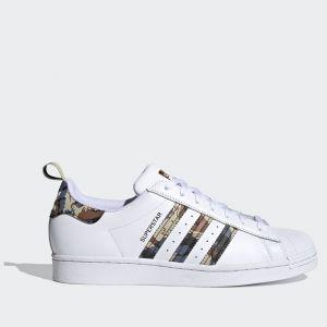 Scarpe ADIDAS Sneakers linea Superstar in Pelle colore Bianco e Dettagli Camouflage