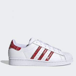 Scarpe Donna ADIDAS Sneakers linea Superstar W in Pelle Bianco e Rosso stampa Bandana